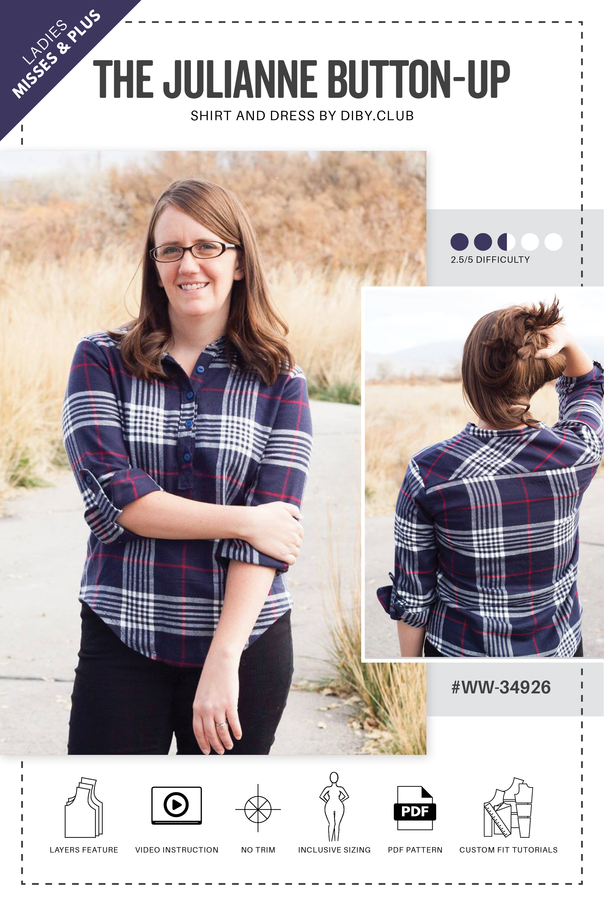 7bd798ef95c The Julianne Button Up Shirt PDF Sewing Pattern Web Cover. Touch to zoom