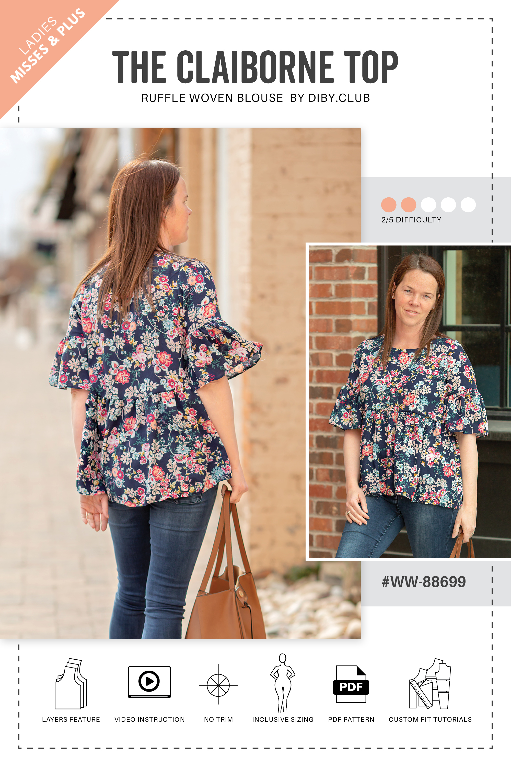 490e8fa73bf The Claiborne Ruffle Top Womens Sewing Pattern Web Cover. Double tap to zoom