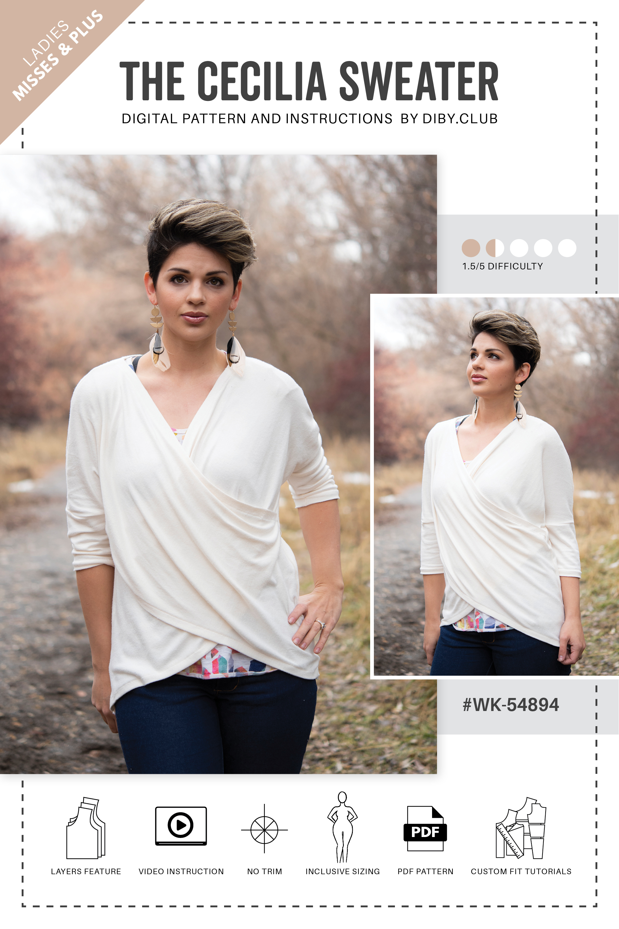 06e80584f4fcaa ... Sewing Patterns   The Cecilia Crisscross Sweater PDF. Cecilia Digital  Pattern Cover Image. Touch to zoom