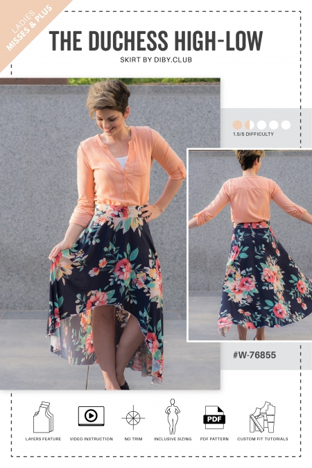 The Duchess High Low Skirt Sewing Pattern Web Cover