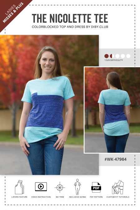 The Nicolette Colorblocked Tee Shirt PDF Sewing Pattern Web Cover2