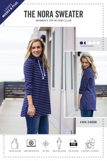 The Nora PDF Sewing Pattern Cover Photo Shannon