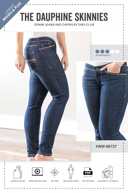 The Dauphine Skinny Jeans PDF Sewing Pattern Web Cover