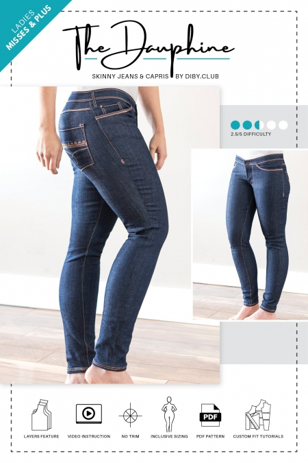The Dauphine Skinny Jeans PDF Sewing Pattern Cover Photo