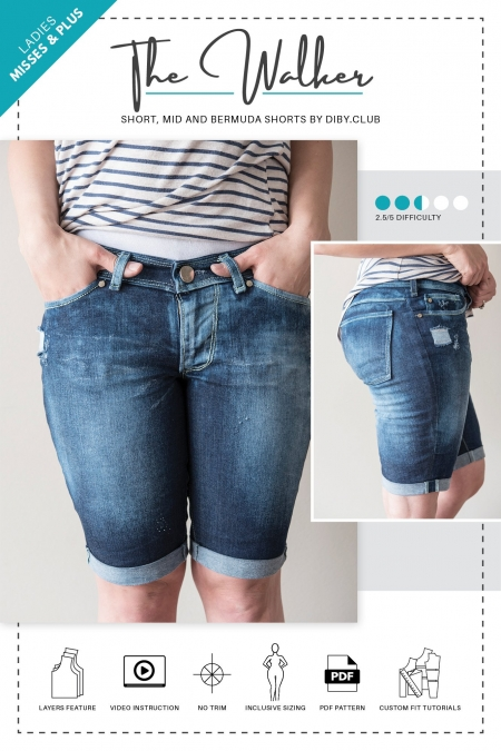 The Walker Short PDF Sewing Pattern Cover Photo