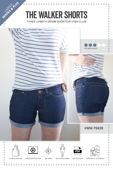 The Walker Shorts PDF Sewing Pattern Web Cover