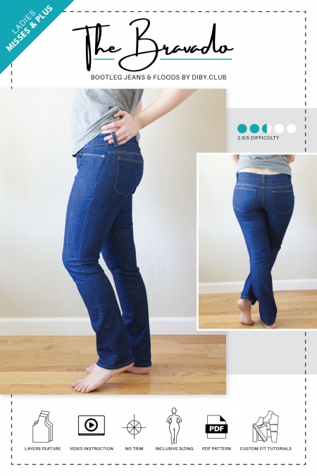 The Bravado Bootcut Jeans PDF Sewing Pattern Cover Photo