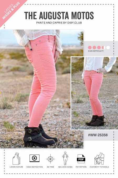 The Augusta Moto Pants PDF Sewing Pattern Web Cover