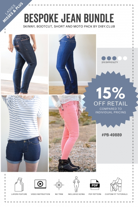 Bespoke Jean Bundle PDF Sewing Pattern Cover Photo