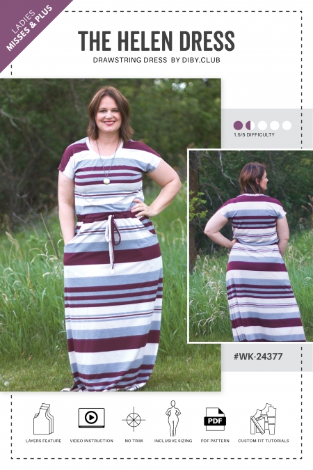 The Helen Drawstring Dress PDF Sewing Pattern Web Cover1