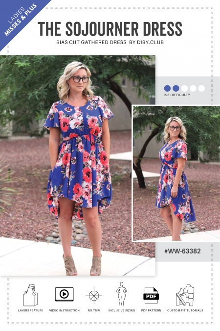 The Sojourner Dress PDF Sewing Pattern Web Cover