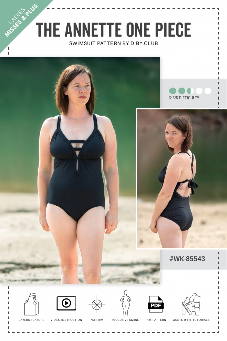 The Annette One Piece Swimsuit Pattern Cover Photo