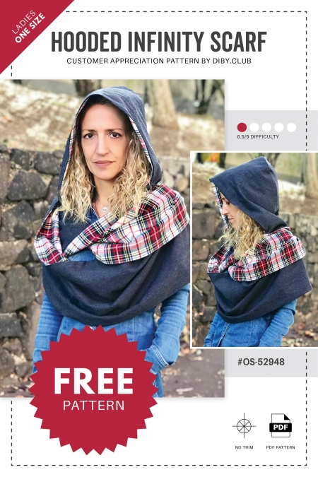 Hooded Infinity Scarf Sewing Pattern Cover Photo