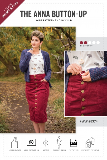 The Anna Button Up Skirt PDF Sewing Pattern Cover Photo2