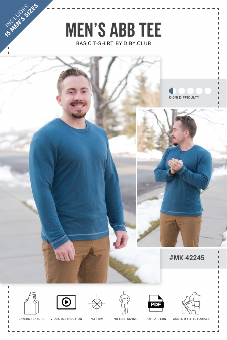 The ABB Mens Tee Sewing Pattern Cover Photo