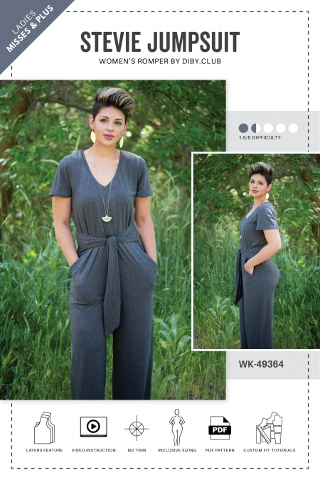 Stevie Womens Jumpsuit Romper Sewing Pattern Cover