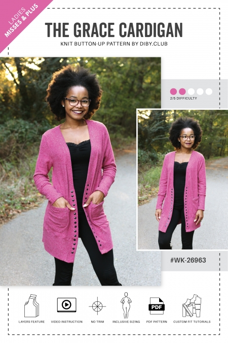 The Grace Button Up Womens Cardigan Sewing Pattern Cover
