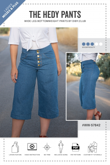 Hedy Wide Leg Jeans PDF Sewing Pattern Cover Photo2