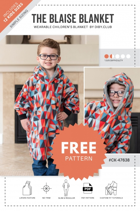 The Blaise Childrens Wearable Blanket Sewing Pattern Cover